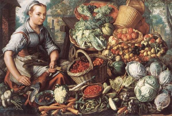 Market Woman With Fruit Vegetables And Poultry